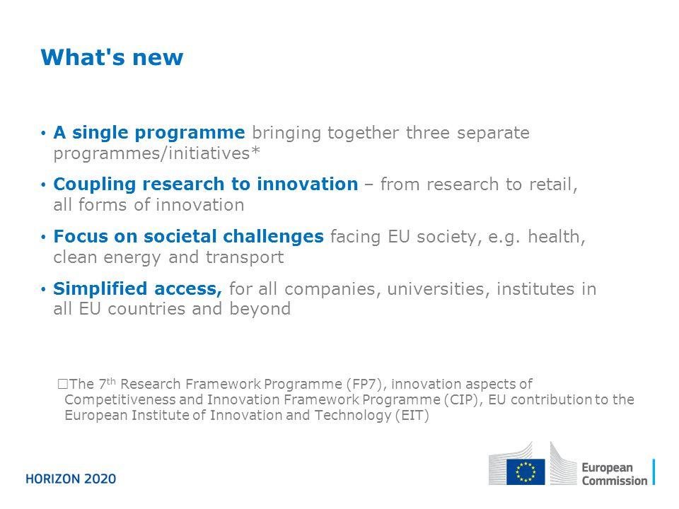 Three priorities Excellent science Industrial leadership Societal challenges