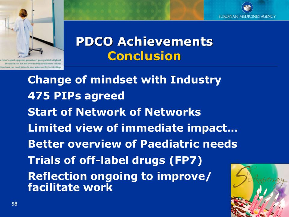 58 PDCO Achievements PDCO Achievements Conclusion Change of mindset with Industry 475 PIPs agreed Start of Network of Networks Limited view of immedia