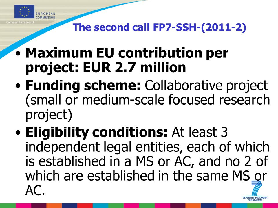 The second call FP7-SSH-(2011-2) Maximum EU contribution per project: EUR 2.7 million Funding scheme: Collaborative project (small or medium-scale foc