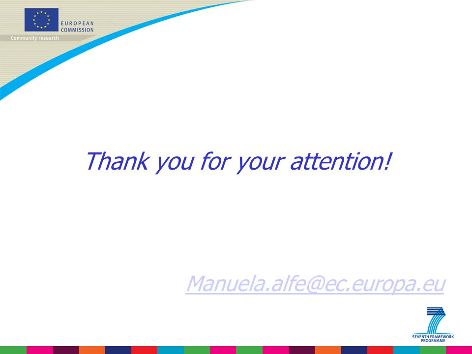 Thank you for your attention! Manuela.alfe@ec.europa.eu