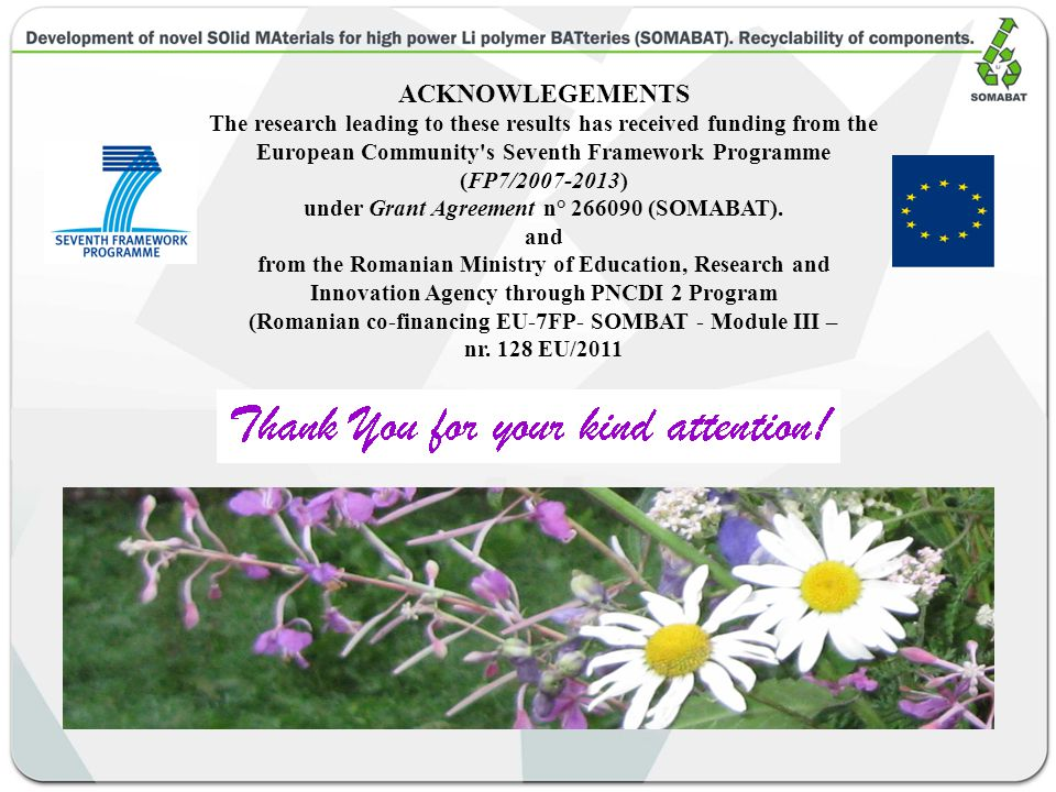ACKNOWLEGEMENTS The research leading to these results has received funding from the European Community s Seventh Framework Programme (FP7/2007-2013) under Grant Agreement n° 266090 (SOMABAT).