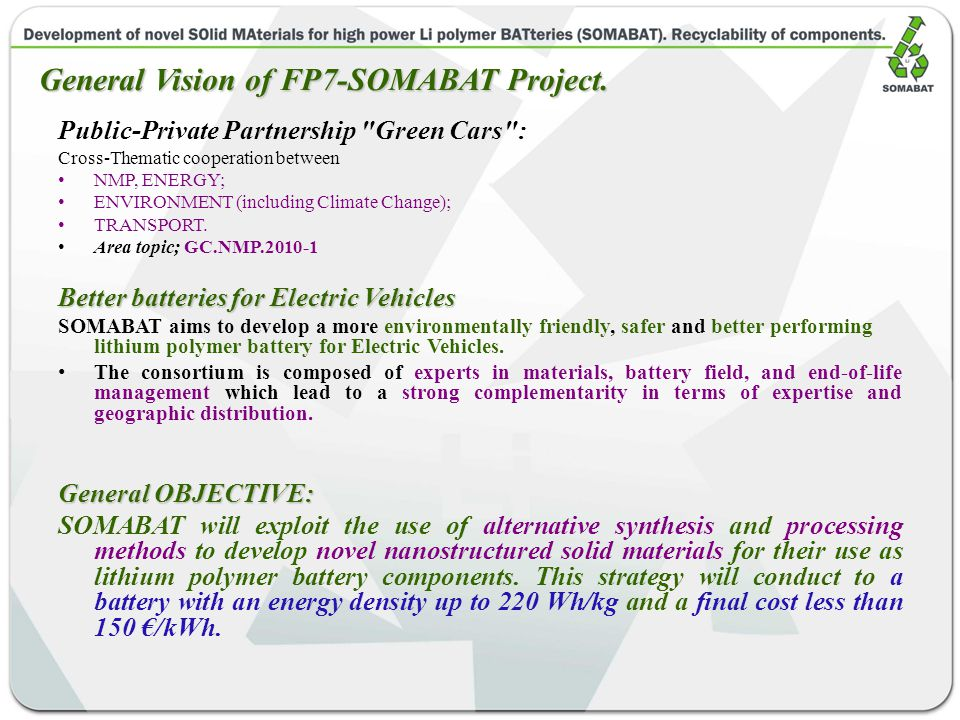 Public-Private Partnership Green Cars : Cross-Thematic cooperation between NMP, ENERGY; ENVIRONMENT (including Climate Change); TRANSPORT.