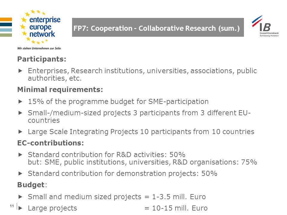 11 FP7: Cooperation - Collaborative Research (sum.) Participants:  Enterprises, Research institutions, universities, associations, public authorities, etc.
