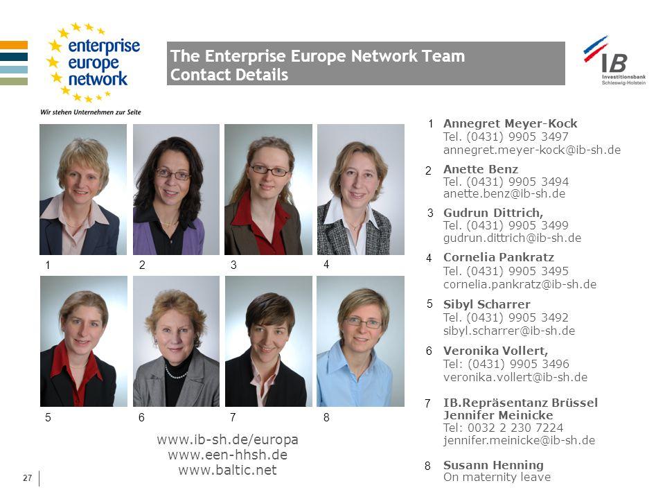 27 The Enterprise Europe Network Team Contact Details www.ib-sh.de/europa www.een-hhsh.de www.baltic.net 1 5 2 6 3 7 4 8 Annegret Meyer-Kock Tel.