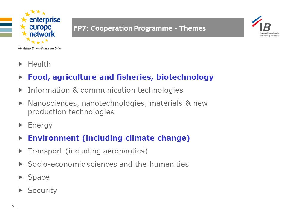 5 FP7: Cooperation Programme – Themes  Health  Food, agriculture and fisheries, biotechnology  Information & communication technologies  Nanoscien