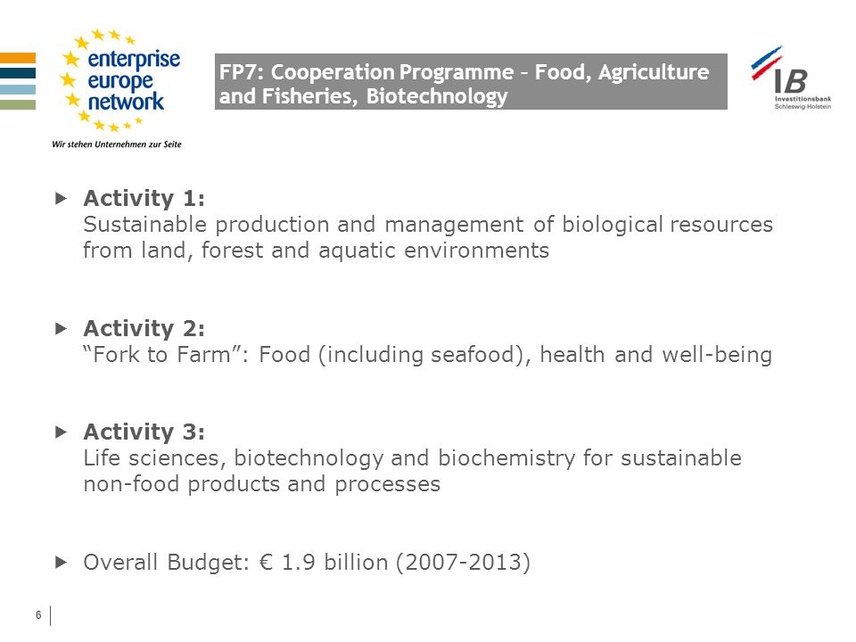 6 FP7: Cooperation Programme – Food, Agriculture and Fisheries, Biotechnology  Activity 1: Sustainable production and management of biological resour