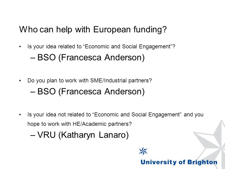 "Who can help with European funding? Is your idea related to ""Economic and Social Engagement""? –BSO (Francesca Anderson) Do you plan to work with SME/I"