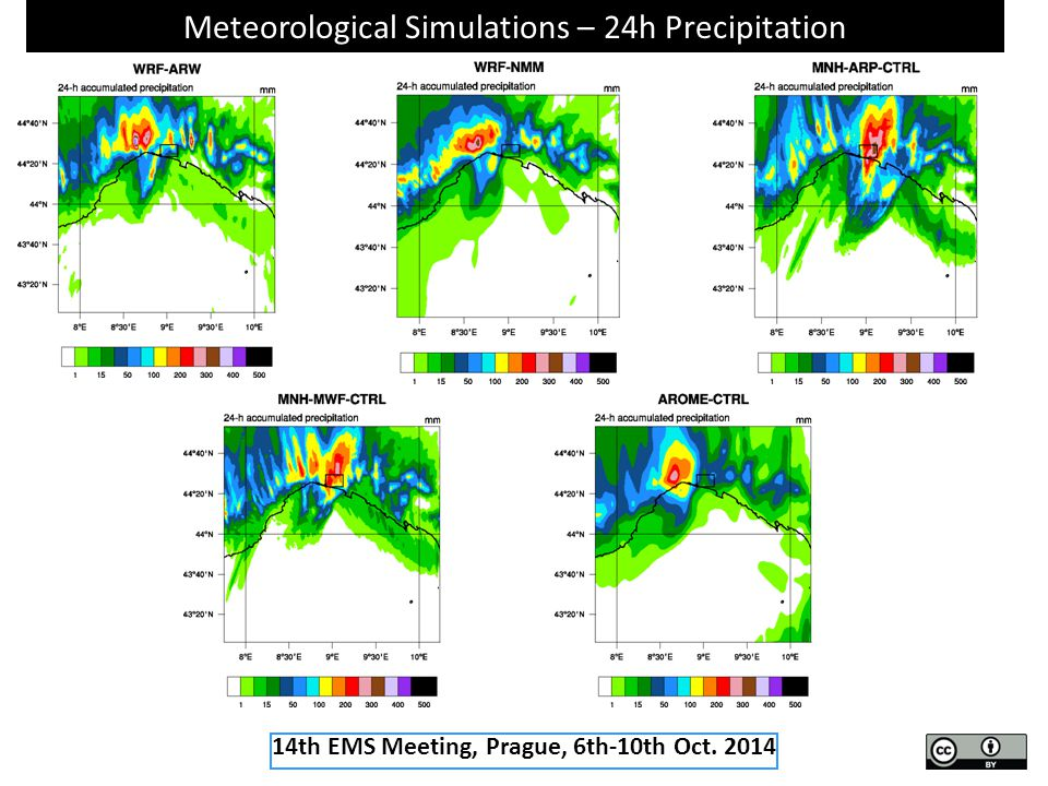 Meteorological Simulations – 24h Precipitation 14th EMS Meeting, Prague, 6th-10th Oct. 2014