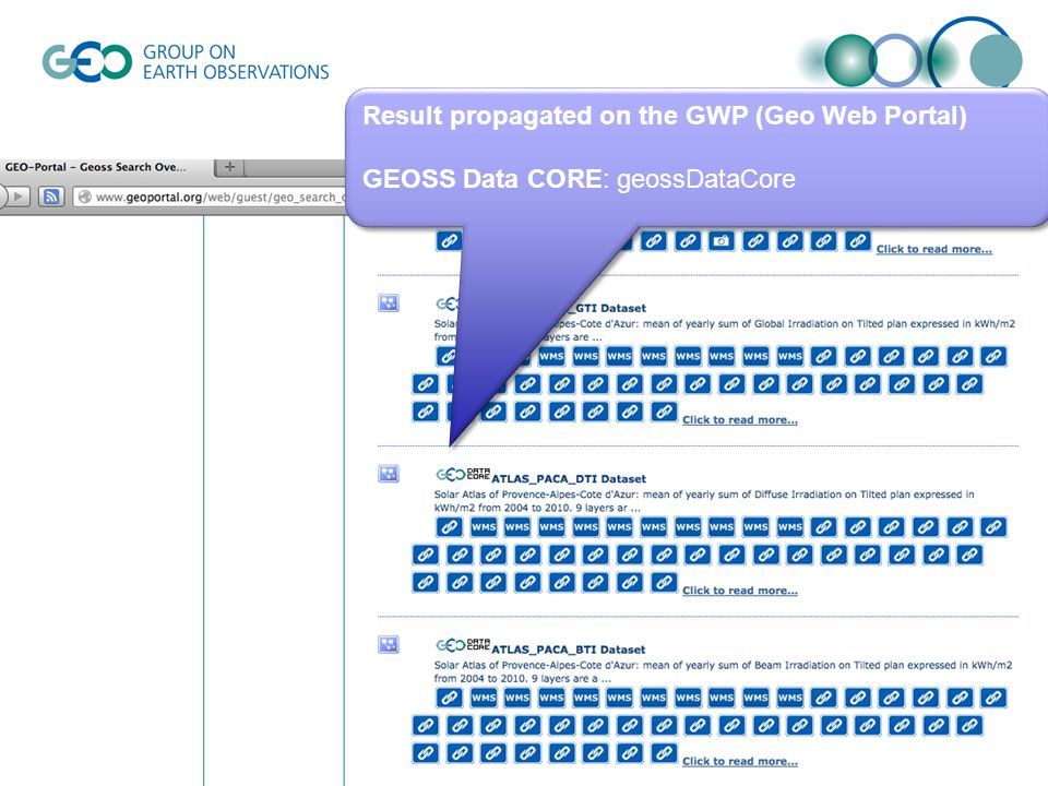 Result propagated on the GWP (Geo Web Portal) GEOSS Data CORE: geossDataCore Result propagated on the GWP (Geo Web Portal) GEOSS Data CORE: geossDataC