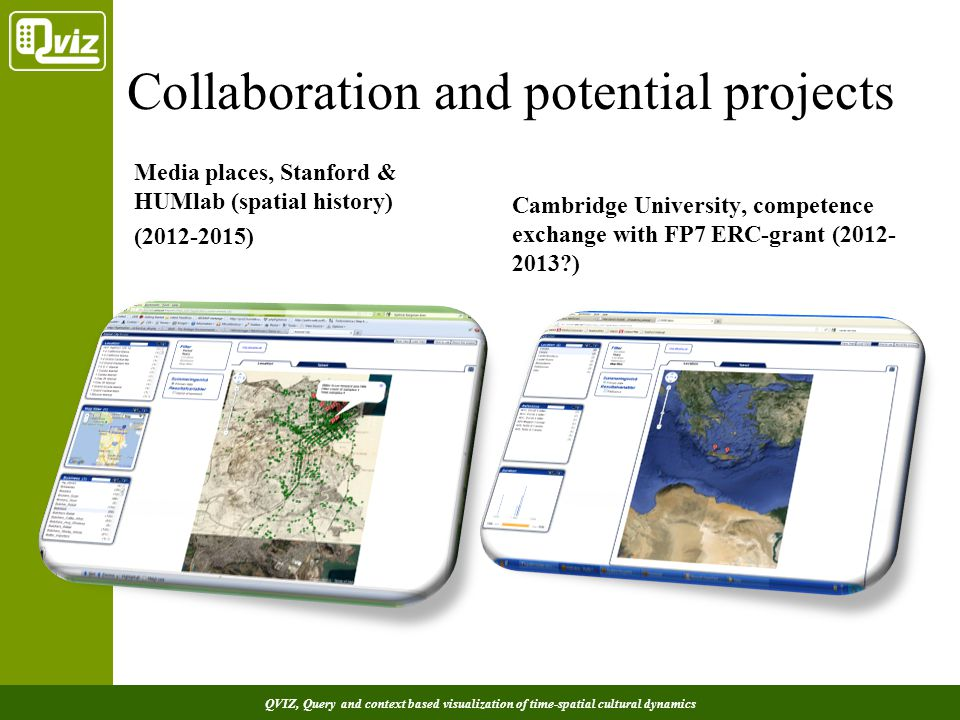 QVIZ, Query and context based visualization of time-spatial cultural dynamics Collaboration and potential projects Media places, Stanford & HUMlab (spatial history) (2012-2015) Cambridge University, competence exchange with FP7 ERC-grant (2012- 2013?)