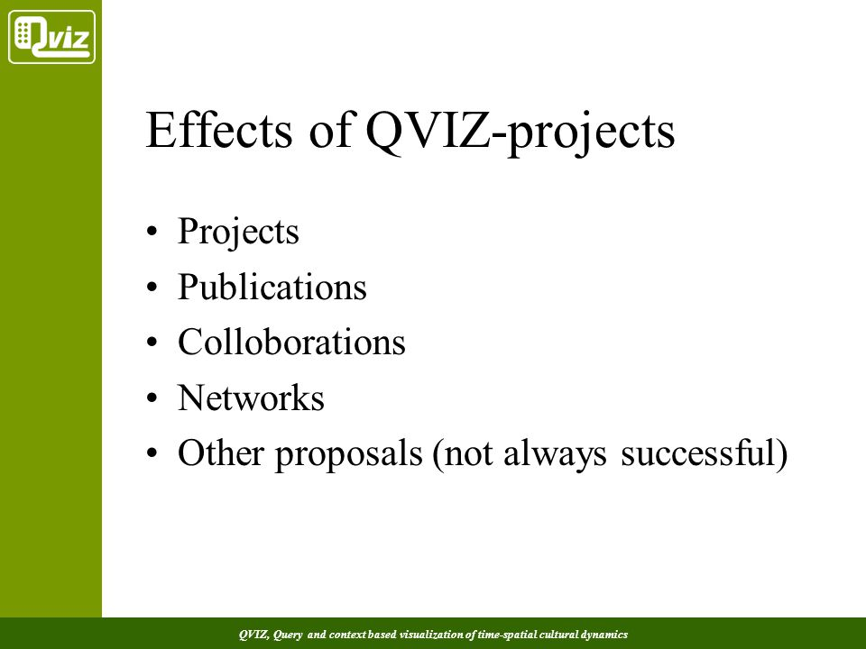 QVIZ, Query and context based visualization of time-spatial cultural dynamics Effects of QVIZ-projects Projects Publications Colloborations Networks Other proposals (not always successful)