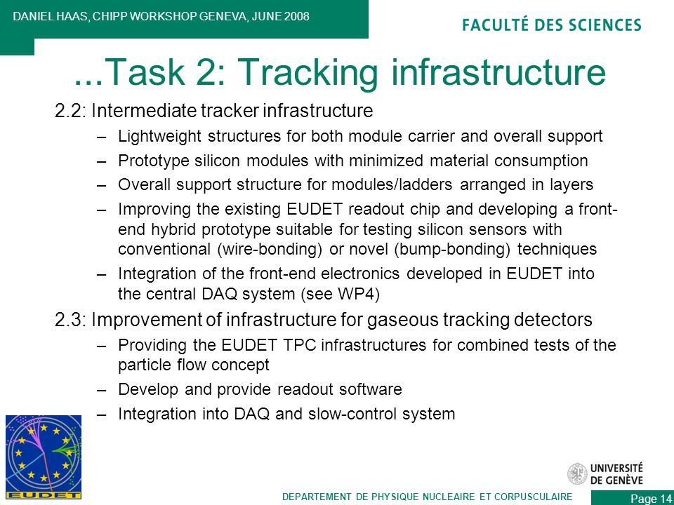 2.2: Intermediate tracker infrastructure –Lightweight structures for both module carrier and overall support –Prototype silicon modules with minimized material consumption –Overall support structure for modules/ladders arranged in layers –Improving the existing EUDET readout chip and developing a front- end hybrid prototype suitable for testing silicon sensors with conventional (wire-bonding) or novel (bump-bonding) techniques –Integration of the front-end electronics developed in EUDET into the central DAQ system (see WP4) 2.3: Improvement of infrastructure for gaseous tracking detectors –Providing the EUDET TPC infrastructures for combined tests of the particle flow concept –Develop and provide readout software –Integration into DAQ and slow-control system DEPARTEMENT DE PHYSIQUE NUCLEAIRE ET CORPUSCULAIRE DANIEL HAAS, CHIPP WORKSHOP GENEVA, JUNE 2008 Page 14...Task 2: Tracking infrastructure