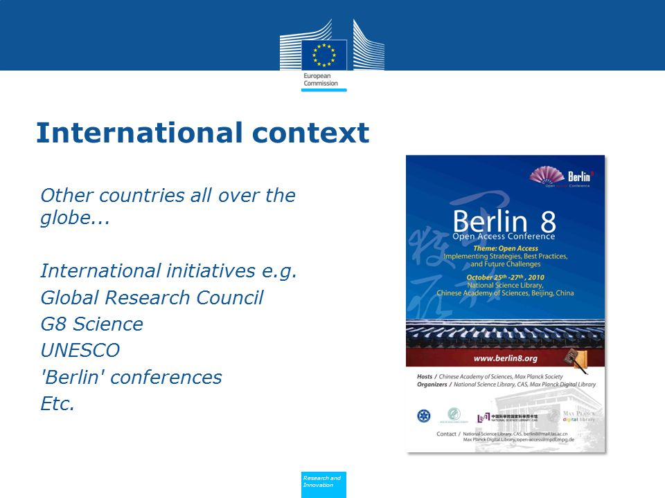 Policy Research and Innovation Research and Innovation International context Other countries all over the globe...