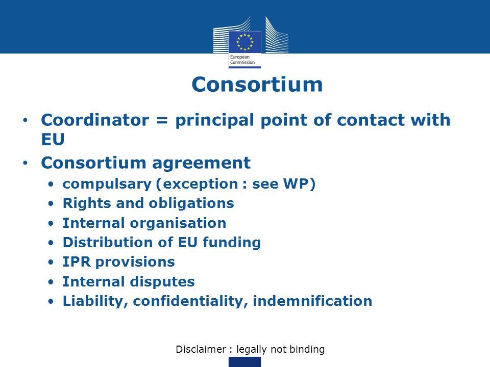 Consortium Coordinator = principal point of contact with EU Consortium agreement compulsary (exception : see WP) Rights and obligations Internal organ