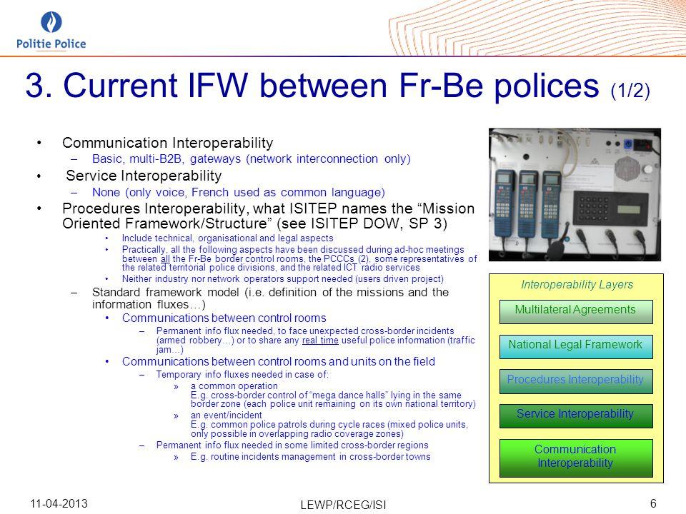 11-04-2013 LEWP/RCEG/ISI 7 Communication Interoperability Service Interoperability Procedures Interoperability National Legal Framework Multilateral Agreements Interoperability Layers Belgium 3.