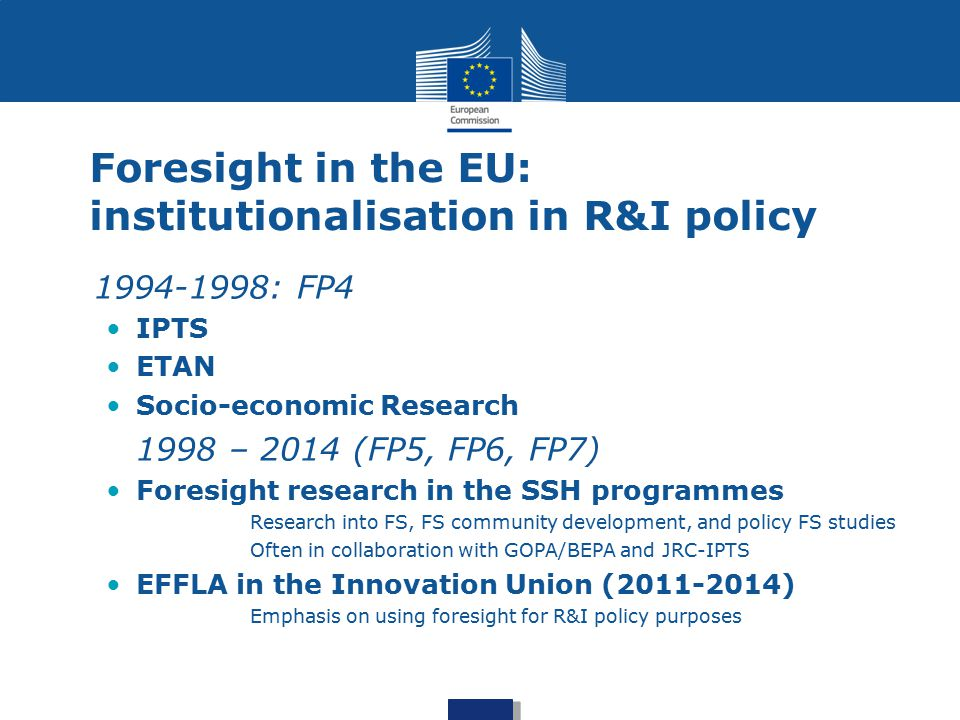 The current state of affairs: foresight in the EC European Strategic Policy Centre (replacing BEPA) ESPAS JRC Foresight and Behavioural Insights CNECT Digital Futures / Futurium R&I Foresight main-streamed (foresight projects and foresight in projects across the different parts of the programme) Foresight in Strategic Programming: coordination and sense-making