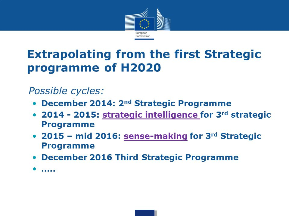 Inputs to the strategic programming process Own intelligence: Programme management Including foresight projects Cross-cutting foresight Including policy related foresight Stakeholder consultations Expert Advice Member States input