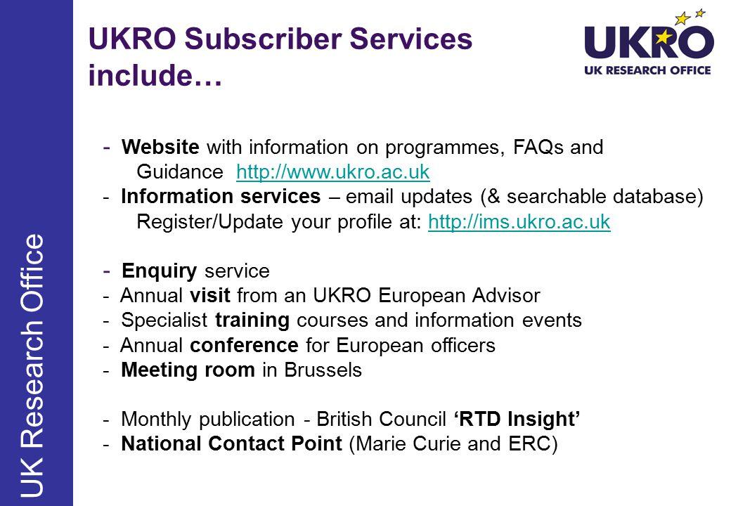 http://www.ukro.ac.uk First calls in FP7
