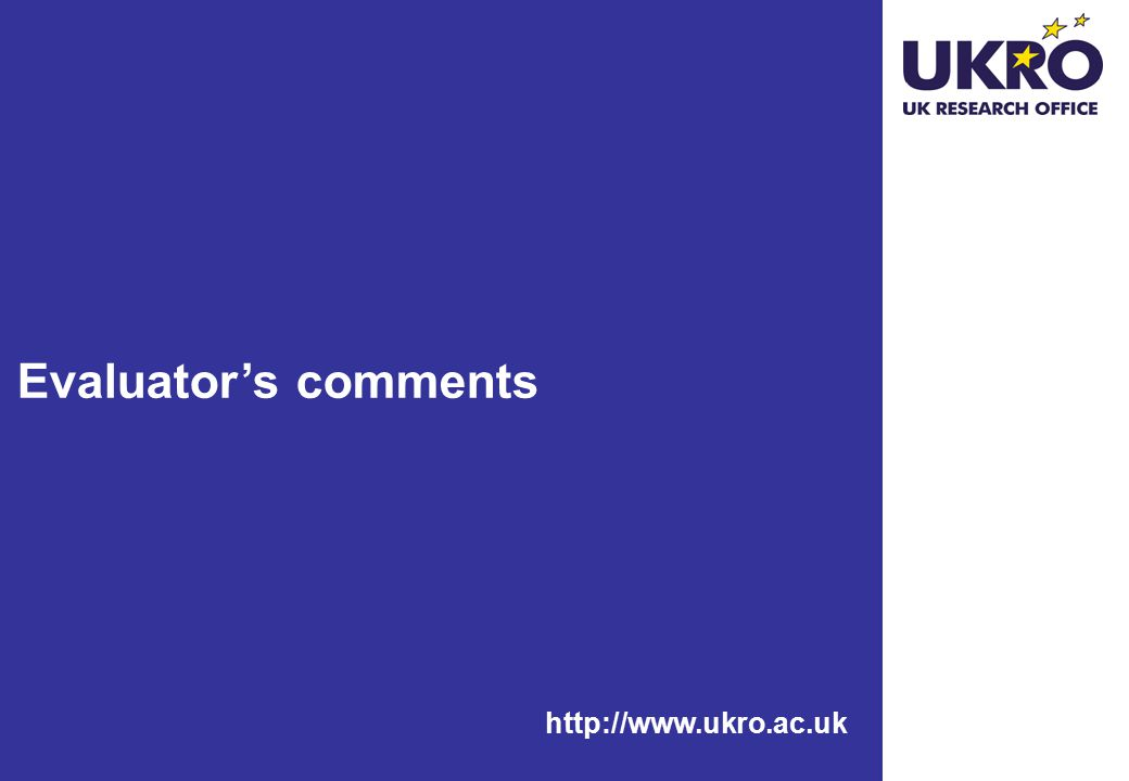 http://www.ukro.ac.uk Evaluator's comments
