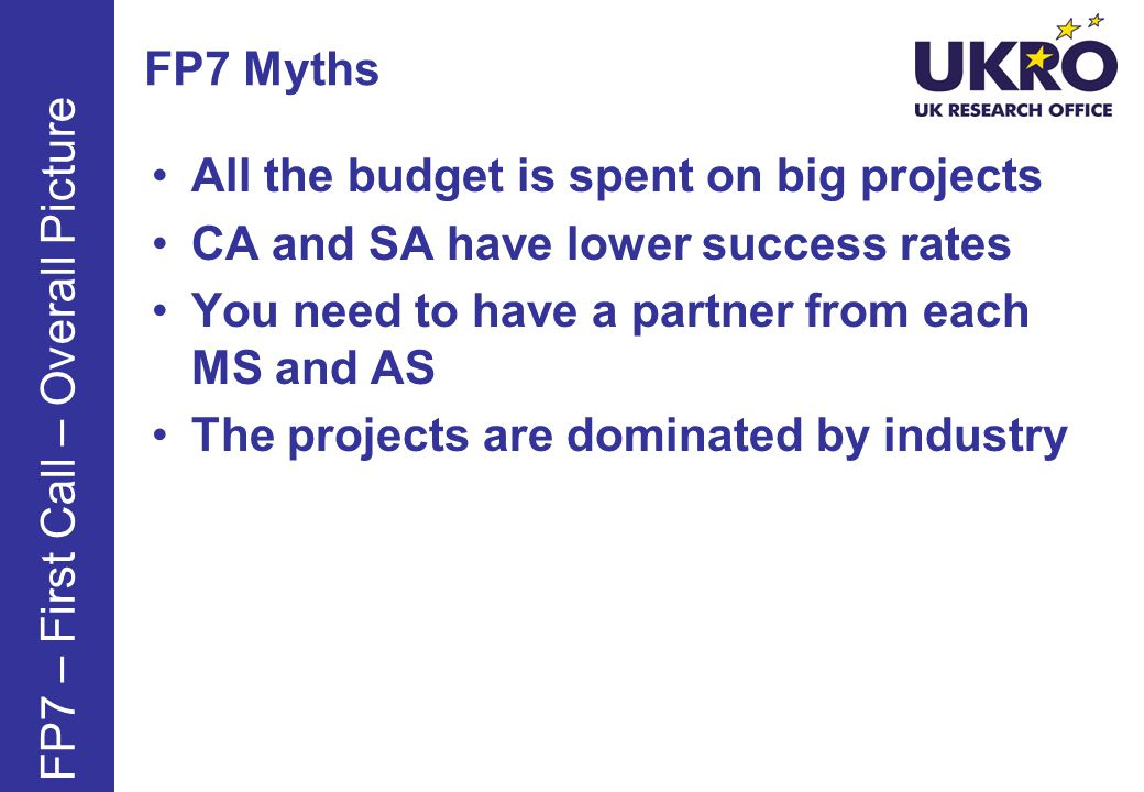 FP7 Myths All the budget is spent on big projects CA and SA have lower success rates You need to have a partner from each MS and AS The projects are dominated by industry FP7 – First Call – Overall Picture