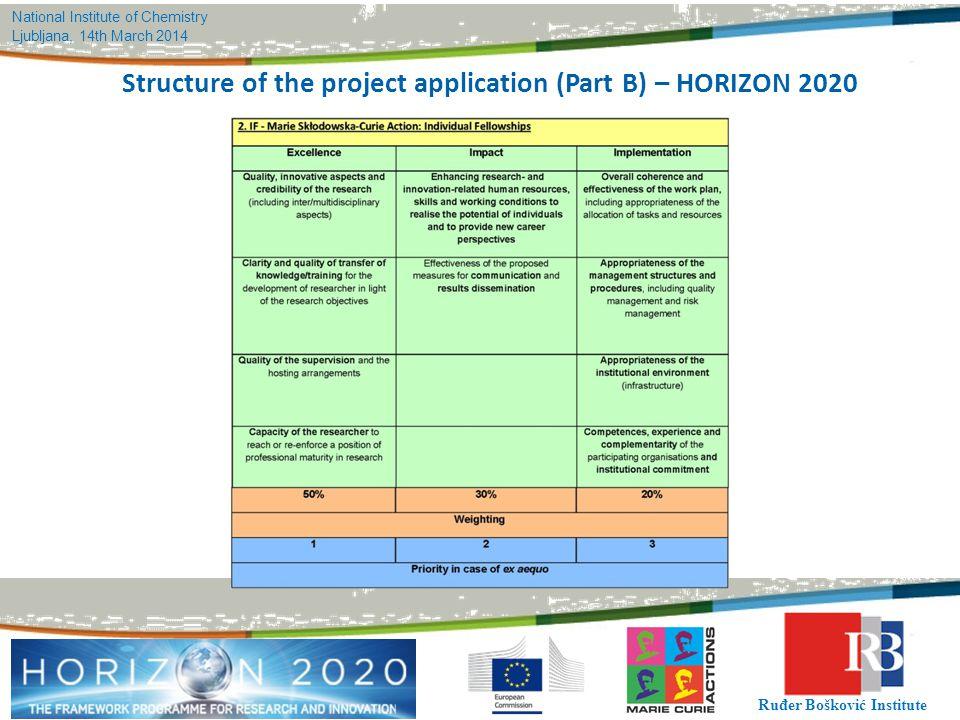 National Institute of Chemistry Ljubljana, 14th March 2014 Ruđer Bošković Institute Structure of the project application (Part B) – HORIZON 2020