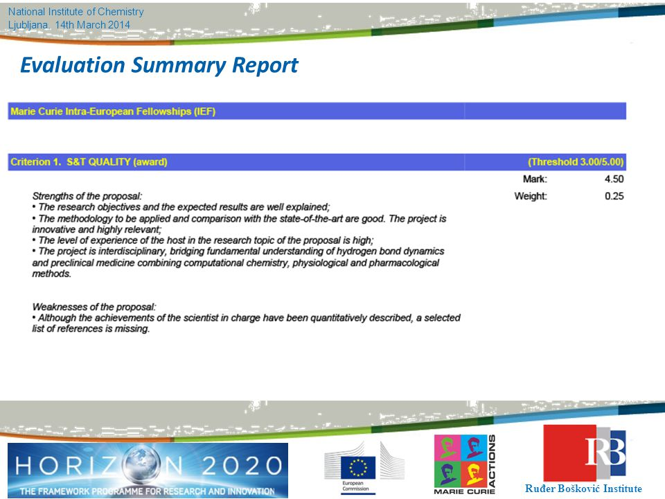 National Institute of Chemistry Ljubljana, 14th March 2014 Ruđer Bošković Institute Evaluation Summary Report