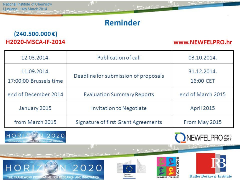 National Institute of Chemistry Ljubljana, 14th March 2014 Ruđer Bošković Institute Reminder (240.500.000 €) H2020-MSCA-IF-2014 12.03.2014.Publication of call 11.09.2014.