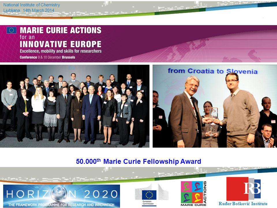 National Institute of Chemistry Ljubljana, 14th March 2014 Ruđer Bošković Institute 50.000 th Marie Curie Fellowship Award