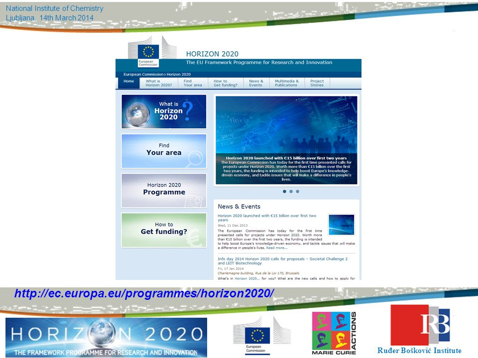 National Institute of Chemistry Ljubljana, 14th March 2014 Ruđer Bošković Institute http://ec.europa.eu/programmes/horizon2020/