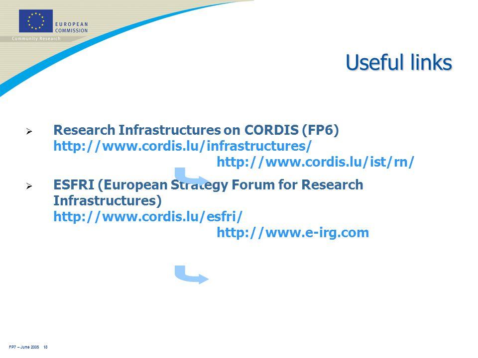 FP7 – June 2005 18 Useful links  Research Infrastructures on CORDIS (FP6) http://www.cordis.lu/infrastructures/ http://www.cordis.lu/ist/rn/  ESFRI (European Strategy Forum for Research Infrastructures) http://www.cordis.lu/esfri/ http://www.e-irg.com