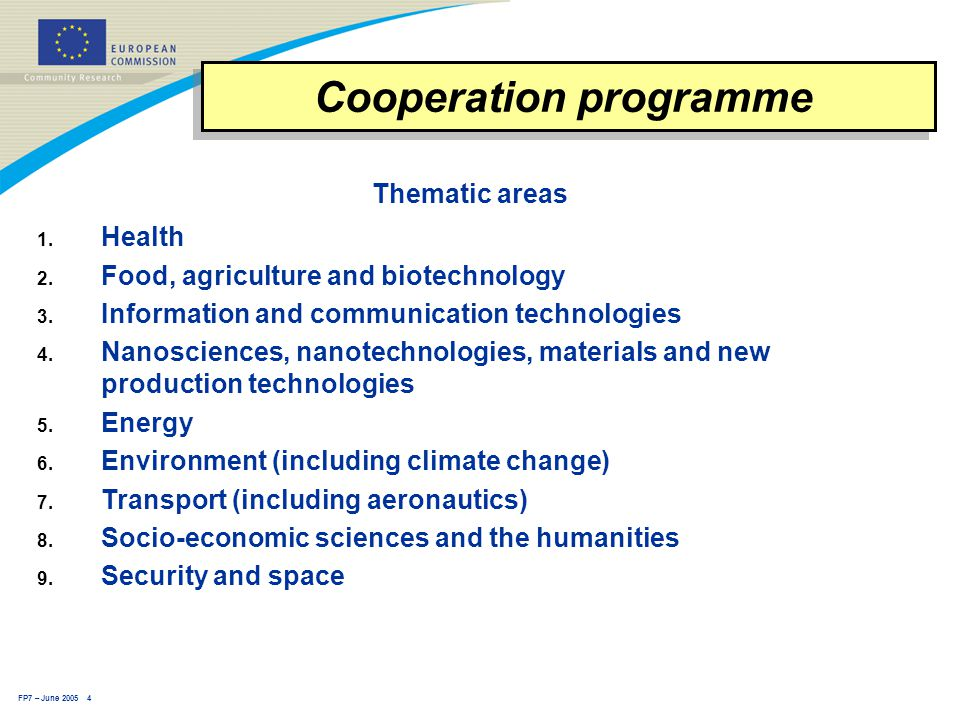 FP7 – June 2005 4 Thematic areas 1.Health 2. Food, agriculture and biotechnology 3.