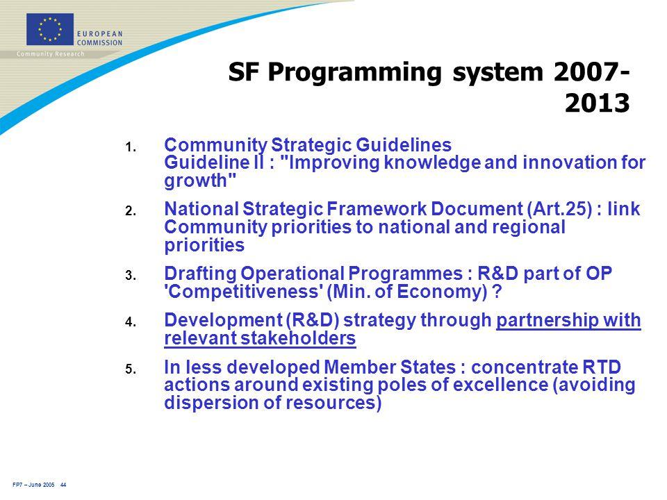 FP7 – June 2005 44 SF Programming system 2007- 2013 1.