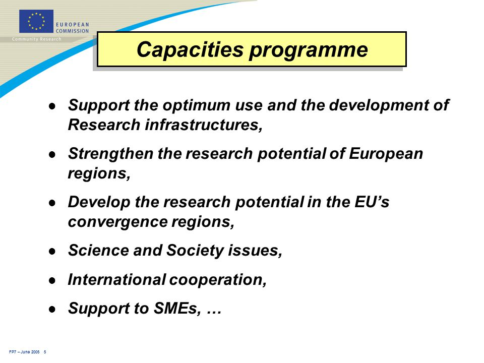 FP7 – June 2005 5 l Support the optimum use and the development of Research infrastructures, l Strengthen the research potential of European regions, l Develop the research potential in the EU's convergence regions, l Science and Society issues, l International cooperation, l Support to SMEs, … Capacities programme