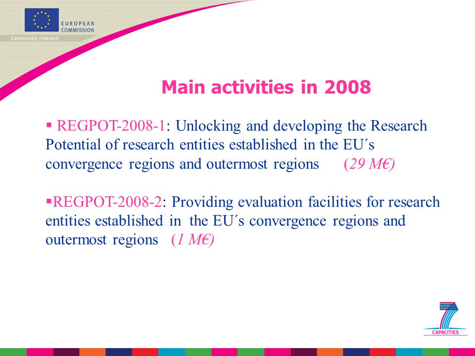REGPOT-2008-1 The activity will support an Action Plan defined by the highest quality and/or promising research centres in the thematic priorities' domains of the FP7, based on a set of coherent measures for:  Exchange of know-how and experience  Recruitment by the selected research entities of incoming experienced researchers  Acquisition, development or upgrading of research equipment;  Organisation of workshops and conferences to facilitate knowledge transfer at national and international level;  Dissemination and promotional activities.