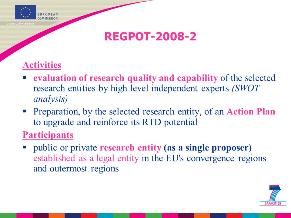 REGPOT-2008-2 Activities  evaluation of research quality and capability of the selected research entities by high level independent experts (SWOT analysis)  Preparation, by the selected research entity, of an Action Plan to upgrade and reinforce its RTD potential Participants  public or private research entity (as a single proposer) established as a legal entity in the EU s convergence regions and outermost regions