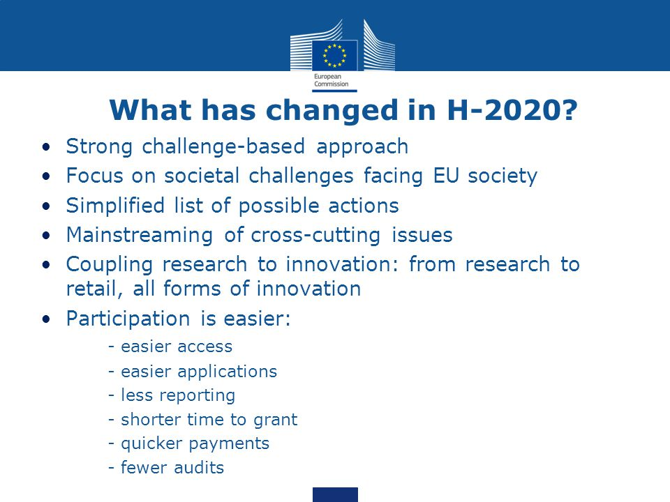 What has changed in H-2020.