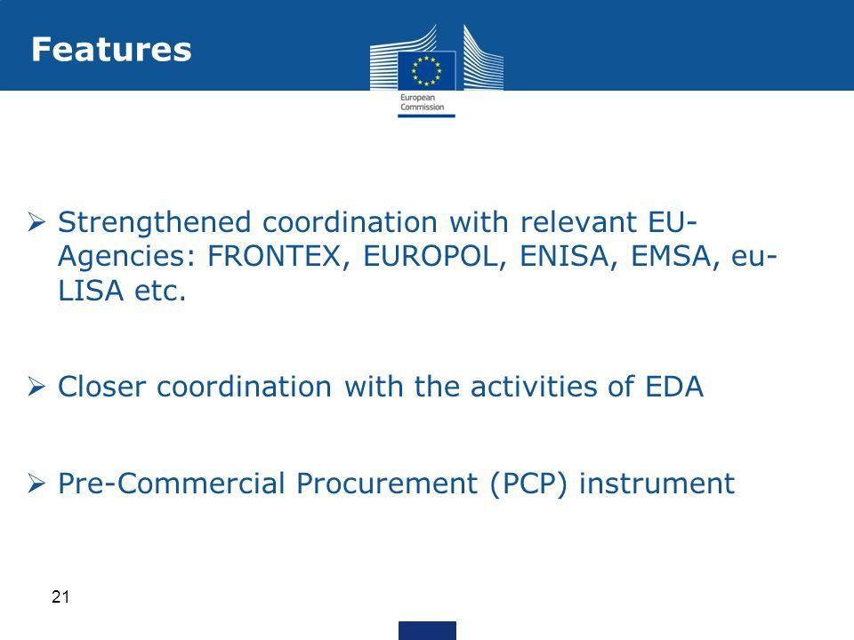 Features  Strengthened coordination with relevant EU- Agencies: FRONTEX, EUROPOL, ENISA, EMSA, eu- LISA etc.