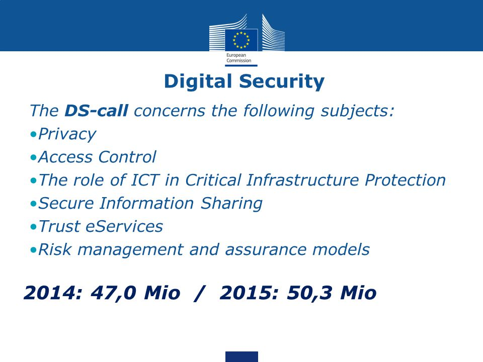 Digital Security The DS-call concerns the following subjects: Privacy Access Control The role of ICT in Critical Infrastructure Protection Secure Information Sharing Trust eServices Risk management and assurance models 2014: 47,0 Mio / 2015: 50,3 Mio