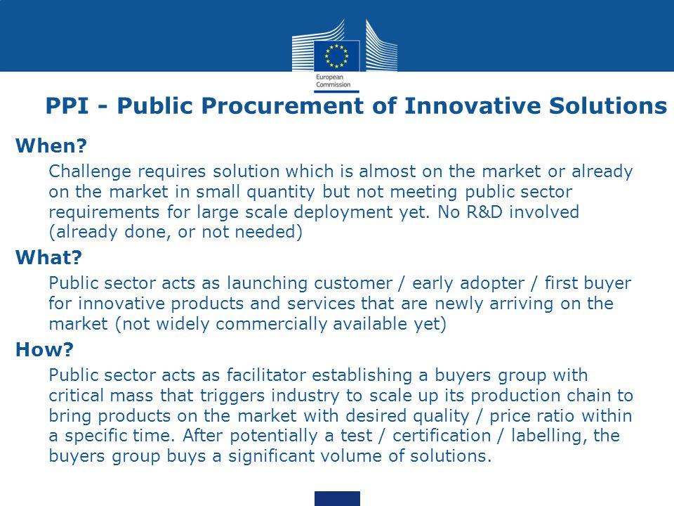 PPI - Public Procurement of Innovative Solutions When.