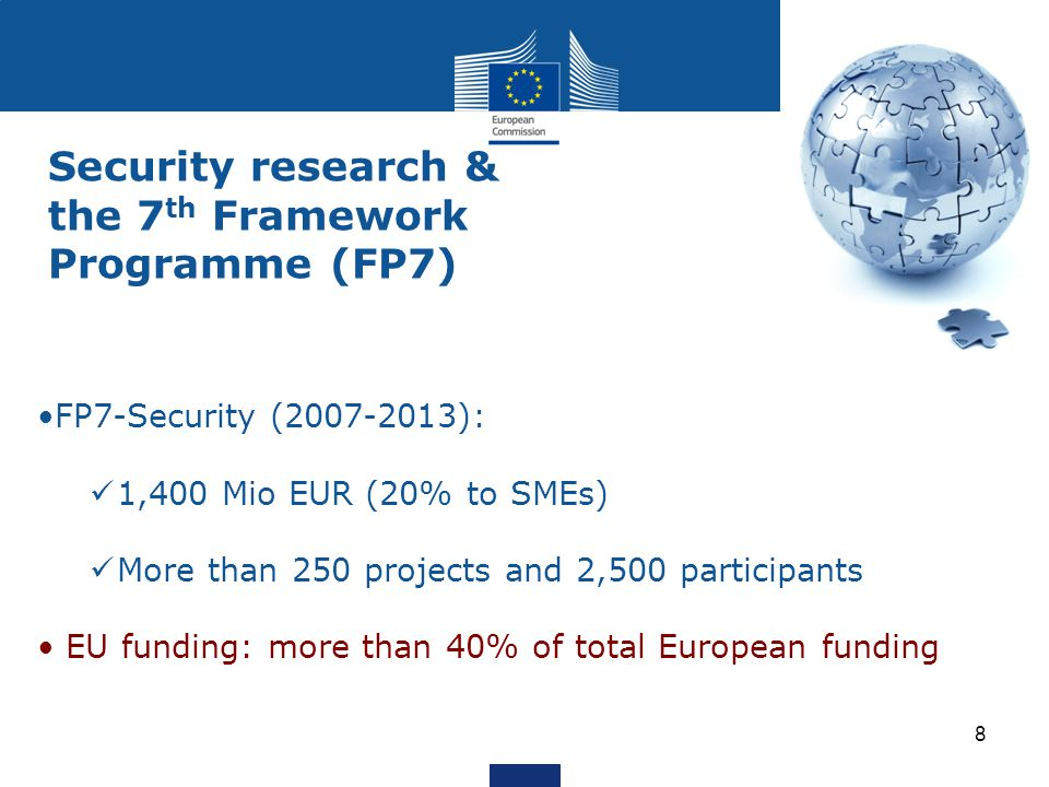 Security research & the 7 th Framework Programme (FP7) FP7-Security (2007-2013): 1,400 Mio EUR (20% to SMEs) More than 250 projects and 2,500 participants EU funding: more than 40% of total European funding 8