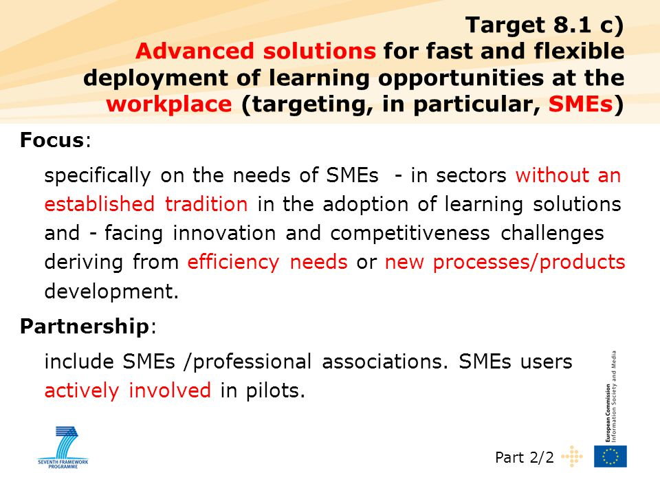 Target 8.1 c) Advanced solutions for fast and flexible deployment of learning opportunities at the workplace (targeting, in particular, SMEs) Focus: s