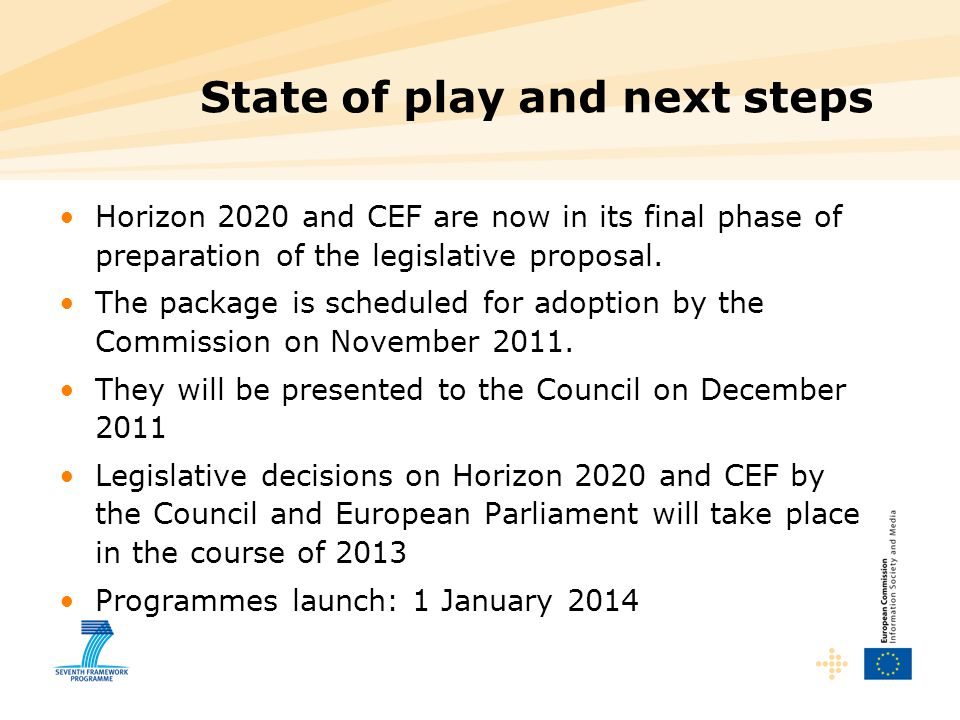 State of play and next steps Horizon 2020 and CEF are now in its final phase of preparation of the legislative proposal. The package is scheduled for