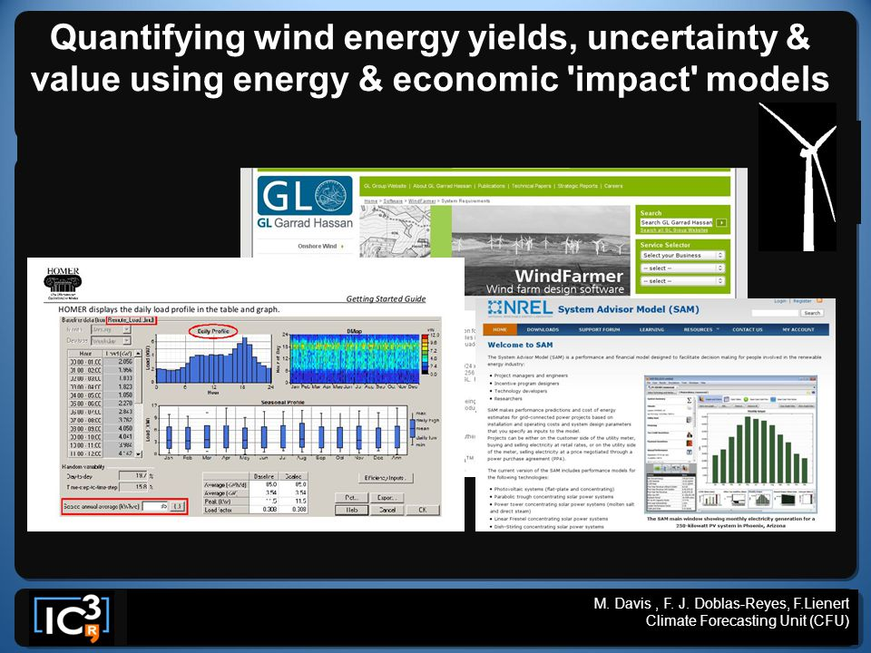 M. Davis, F. J. Doblas-Reyes, F.Lienert, V.Guemas, CLIMRUN WP7. Climate Forecasting Unit (CFU) Quantifying wind energy yields, uncertainty & value usi