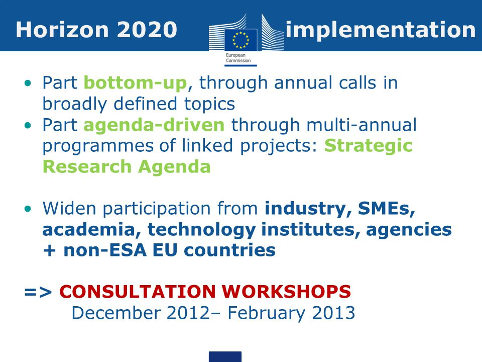 Part bottom-up, through annual calls in broadly defined topics Part agenda-driven through multi-annual programmes of linked projects: Strategic Research Agenda Widen participation from industry, SMEs, academia, technology institutes, agencies + non-ESA EU countries => CONSULTATION WORKSHOPS December 2012– February 2013 Horizon 2020 implementation