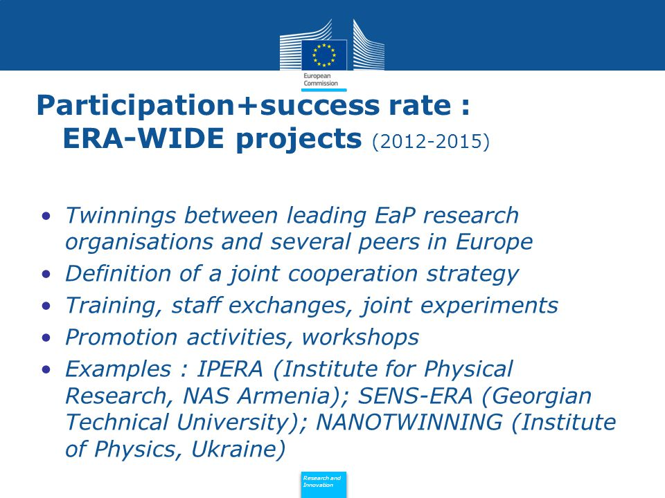 Policy Research and Innovation Research and Innovation Participation+success rate : ERA-WIDE projects (2012-2015) Twinnings between leading EaP research organisations and several peers in Europe Definition of a joint cooperation strategy Training, staff exchanges, joint experiments Promotion activities, workshops Examples : IPERA (Institute for Physical Research, NAS Armenia); SENS-ERA (Georgian Technical University); NANOTWINNING (Institute of Physics, Ukraine)