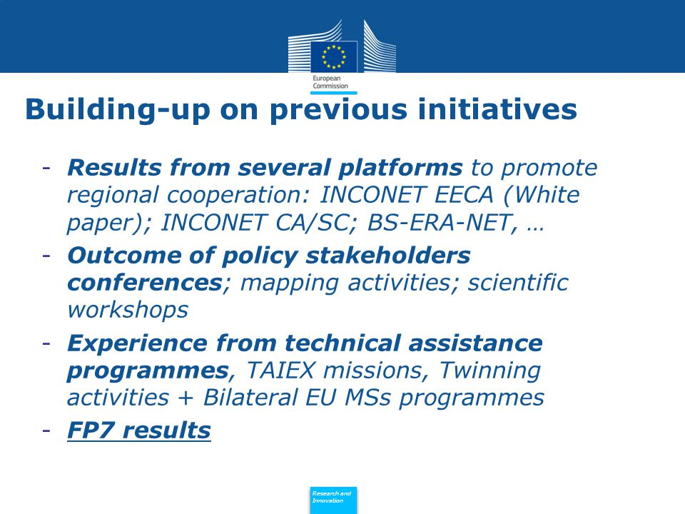 Policy Research and Innovation Research and Innovation FP7 2007-2013 Specific Programme Participations Number of projects Cooperation230192 People141120 Capacities151105 Euratom1310 Eastern Partnership countries (EaP) Total of 535 participations in 427 FP7 projects - Participation Projects