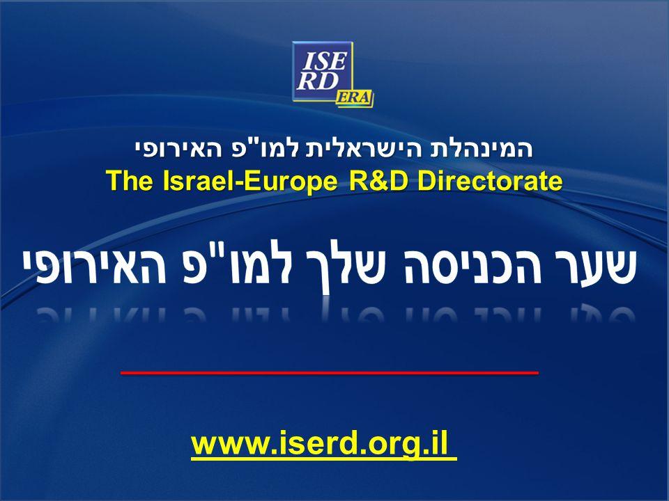 המינהלת הישראלית למו פ האירופי The Israel-Europe R&D Directorate www.iserd.org.il