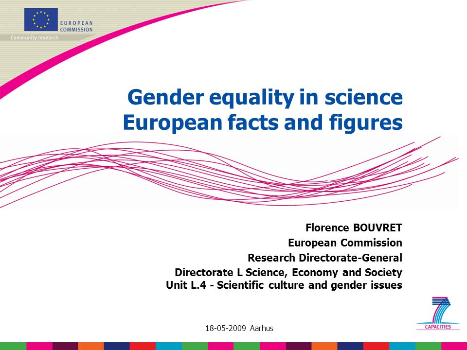 18-05-2009 Aarhus Gender equality in science European facts and figures Florence BOUVRET European Commission Research Directorate-General Directorate L Science, Economy and Society Unit L.4 - Scientific culture and gender issues