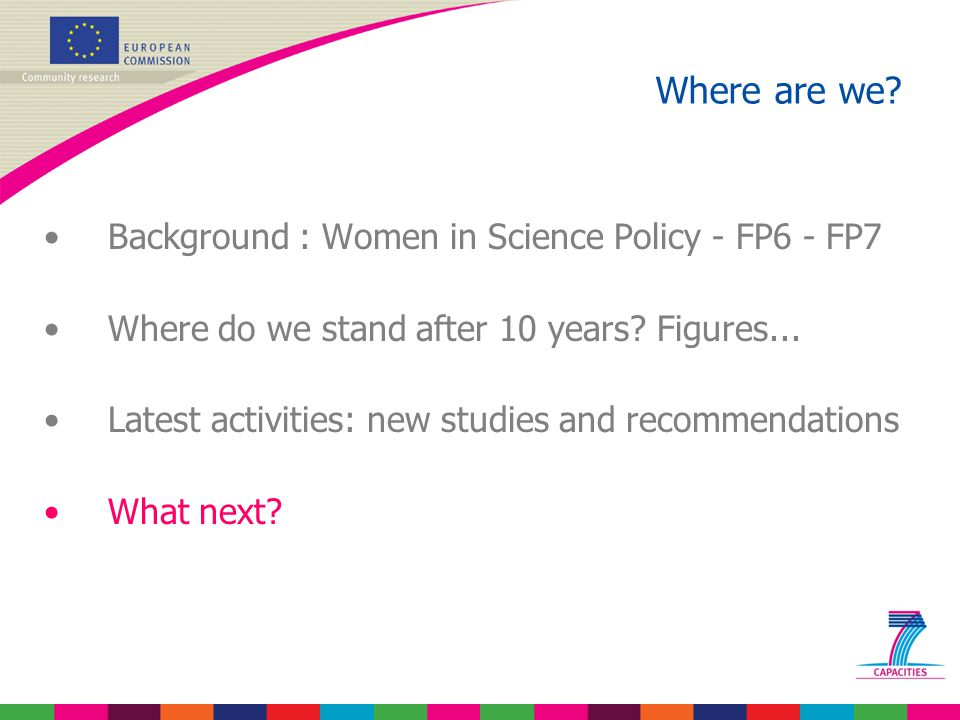 Background : Women in Science Policy - FP6 - FP7 Where do we stand after 10 years.