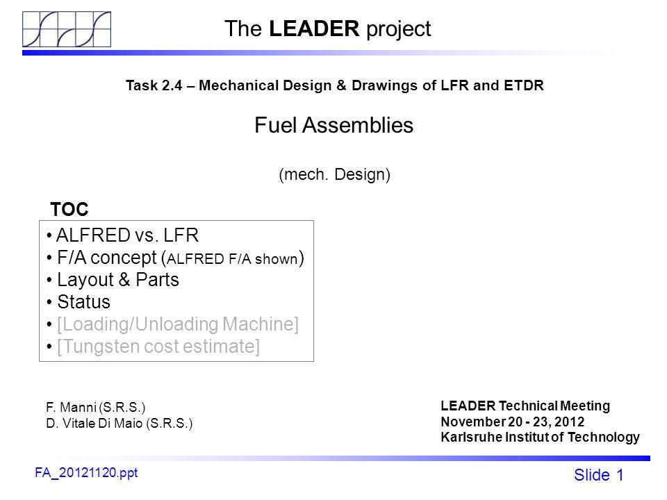 Fp7 - LEADER Slide 1 ALFRED C&S rods mechanical design FA_20121120.ppt Task 2.4 – Mechanical Design & Drawings of LFR and ETDR Fuel Assemblies (mech.